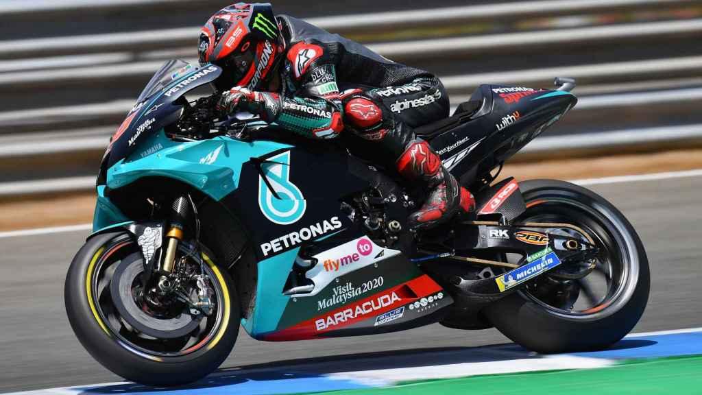 Fabio Quartararo, durante una de las sesiones de entrenamientos del Gran Premio de España, en Jerez.