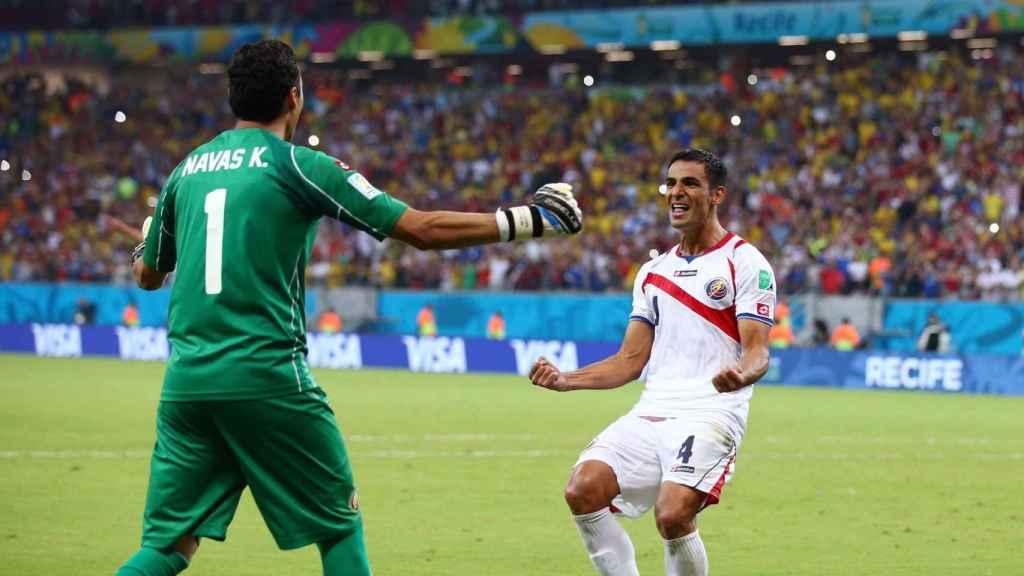 Keylor Navas celebra una acción con Costa Rica durante el Mundial 2014