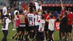 La plantilla del Logroñés celebra el ascenso a Segunda División