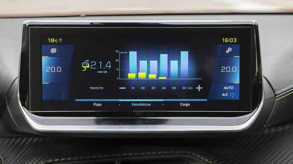 Cuadro central del nuevo Peugeot e-2008 con el consumo de electricidad.