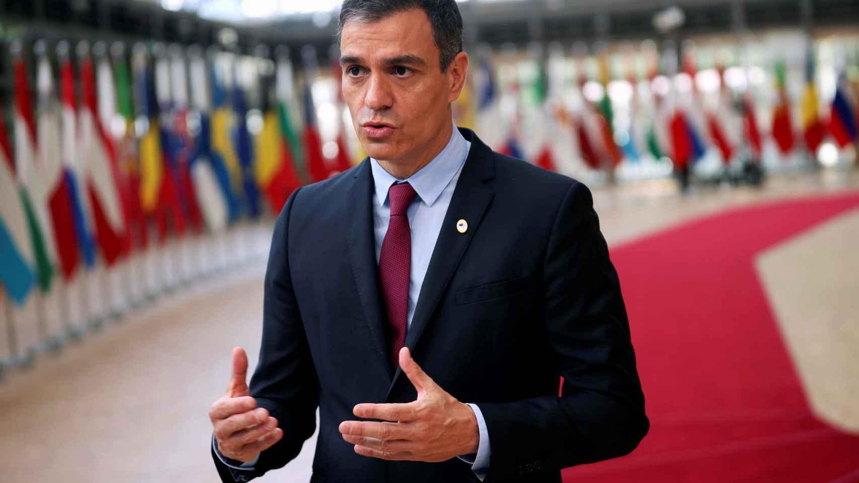Pedro Sánchez este lunes antes de la cumbre de Bruselas.