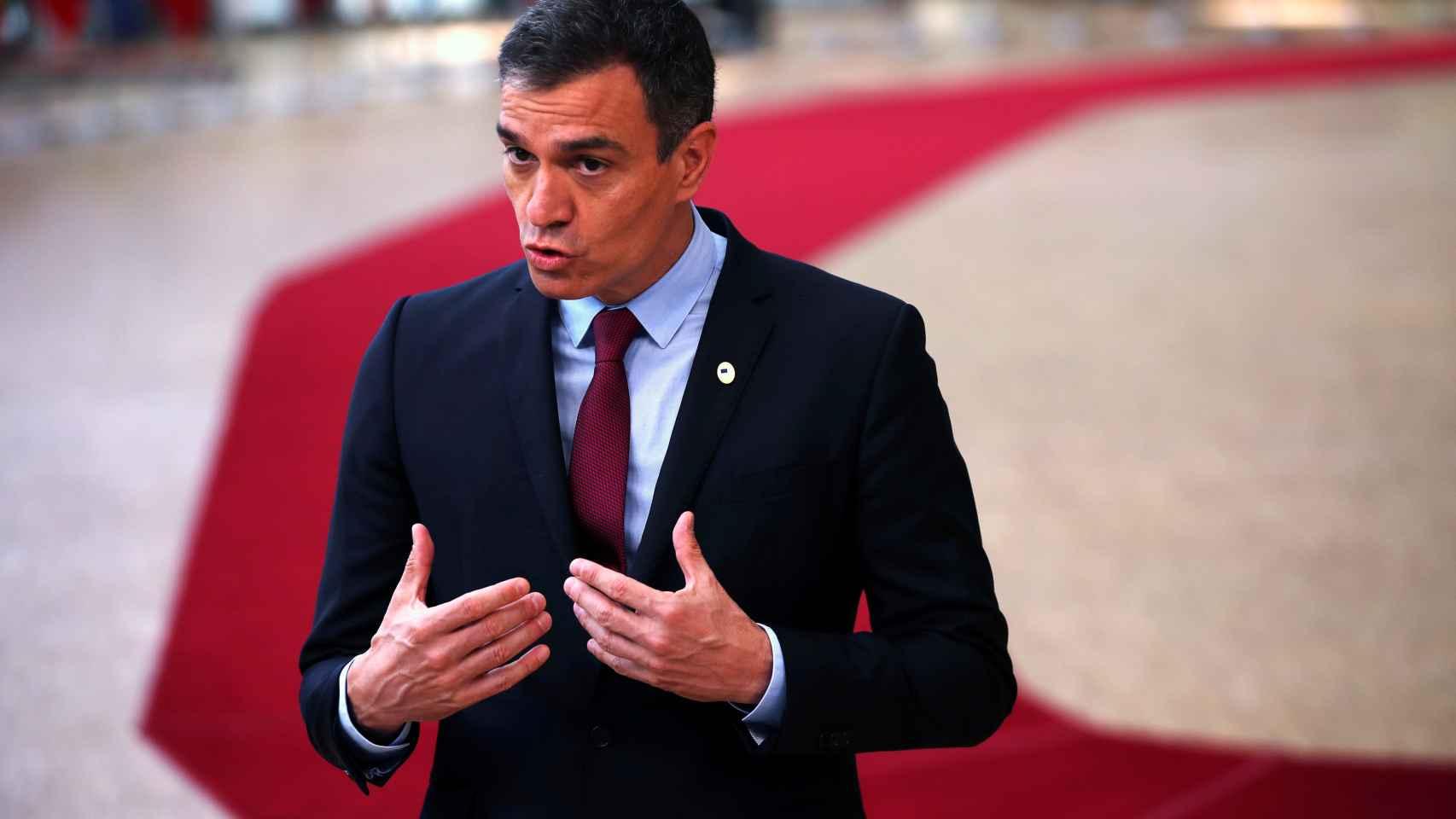 El presidente del Gobierno, Pedro Sánchez, este lunes en Bruselas