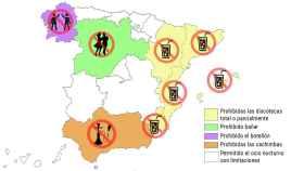 Salir de discotecas, ir de botellón o compartir cachimba: el lío del mapa nocturno en España