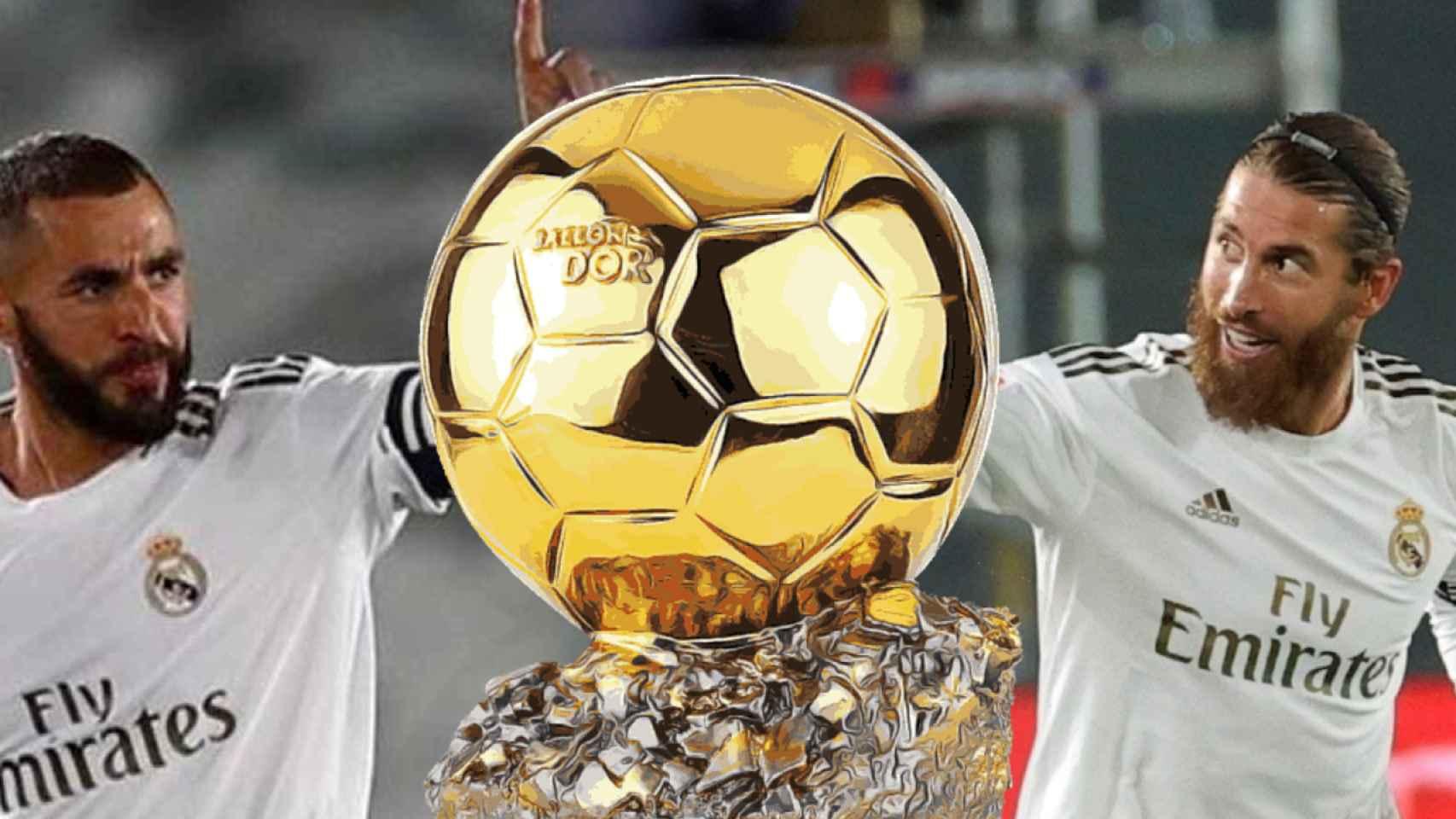 Karim Benzema y Sergio Ramos junto al Balón de Oro