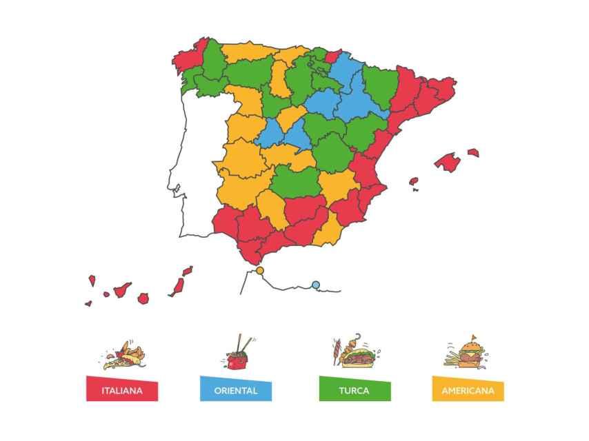 Mapa de las comidas más pedidas a domicilio.