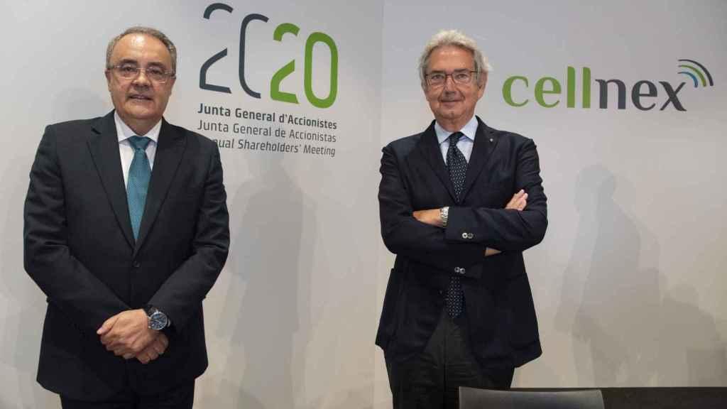 El consejero delelgado de Cellnex Telecom, Tobías Martínez, y hasta ahora presidente, Franco Bernabè