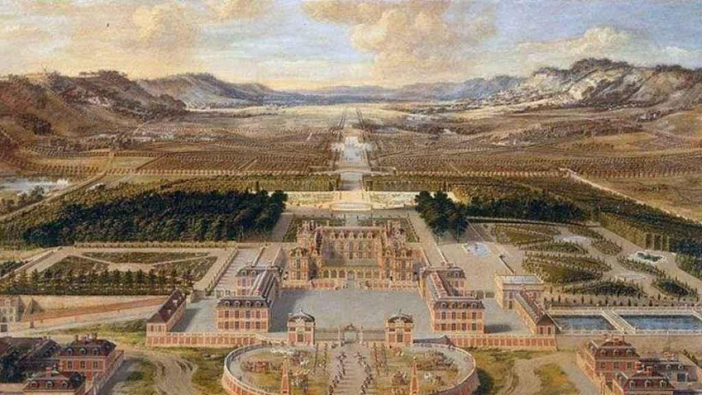 El palacio de Versalles durante el proceso de reconstrucción  en 1668.