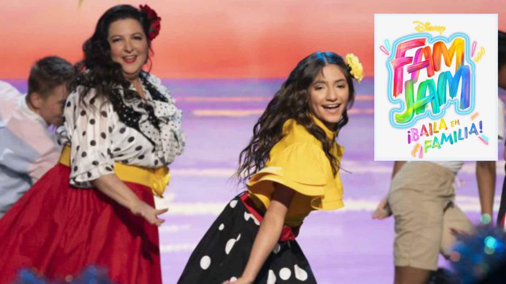 El logo de 'Fam Jam España' junto a dos concursantes en montaje de JALEOS.