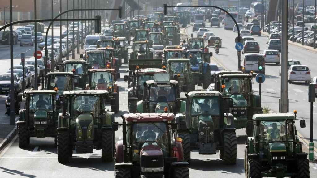 Protesta de agricultores en una imagen de archivo