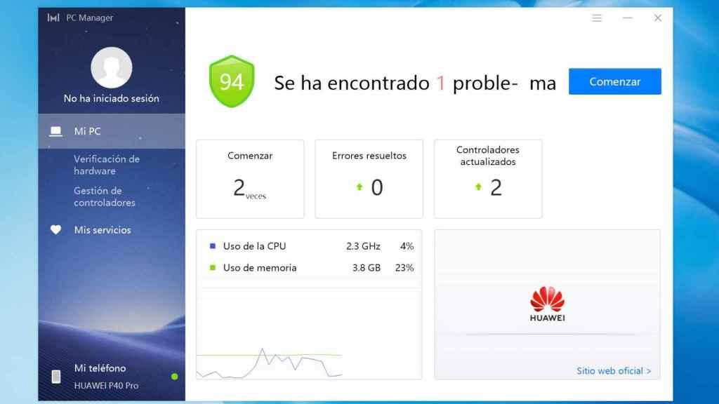 PC Manager es un programa incluido en el Huawei MateBook