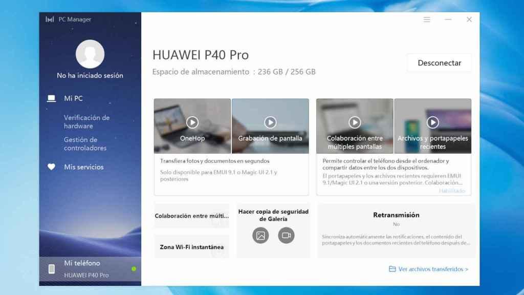 Podemos conectar nuestro móvil al Huawei MateBook para pasar nuestros archivos