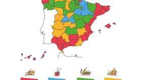 Mapa de la comida pedida por los españoles.