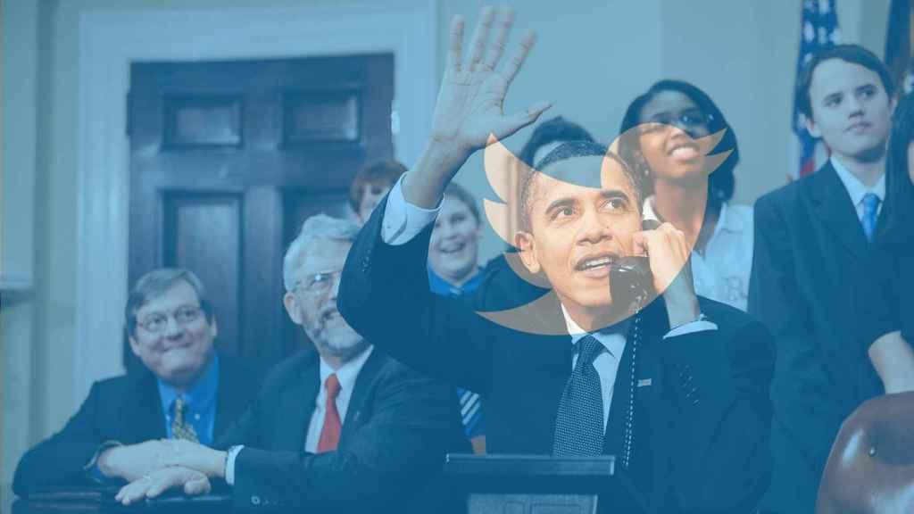 Fotomontaje con Obama y el logo de Twitter.