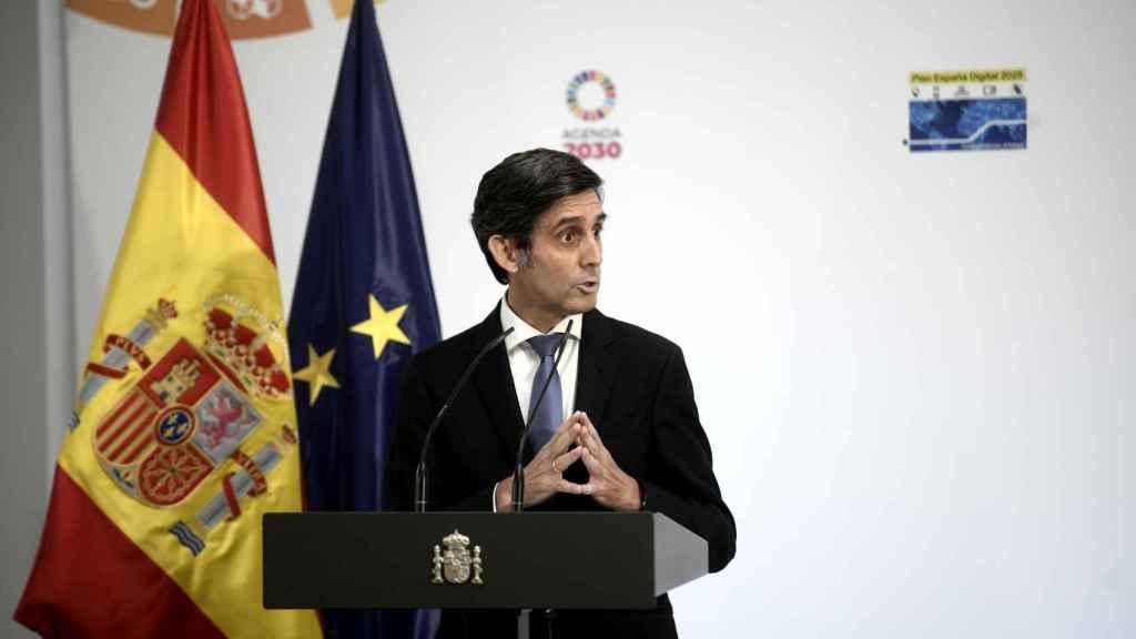 El presidente ejecutivo de Telefónica, José María Álvarez-Pallete, durante la presentación de la agenda 'España Digital 2025' en Moncloa.