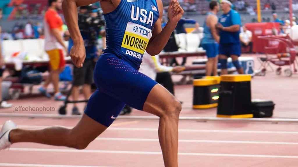 Michael Norman, durante una prueba