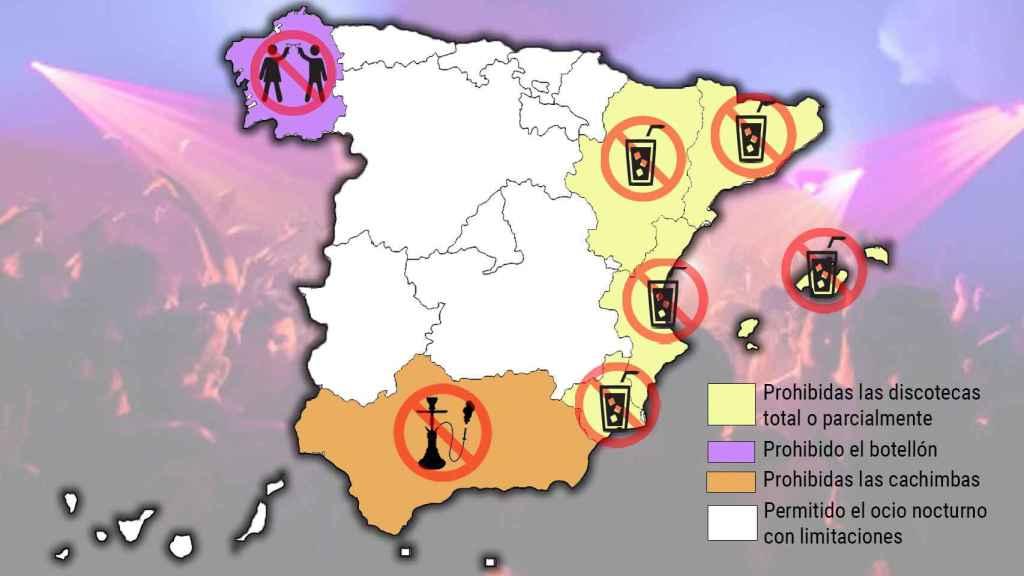Prohibiciones del ocio nocturno según regiones.