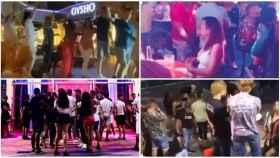 Jóvenes de fiesta en Tenerife bailando la conga y en Yaiza (fotos superiores); y en Pachá y Gran Canaria (inferiores)