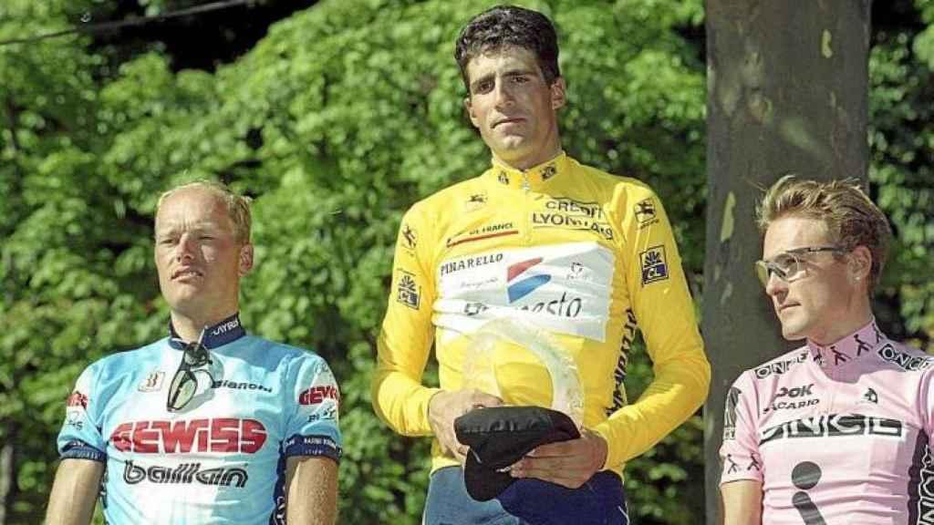 Riis, Indurain y Zulle en el podio del Tour de Francia de 1995