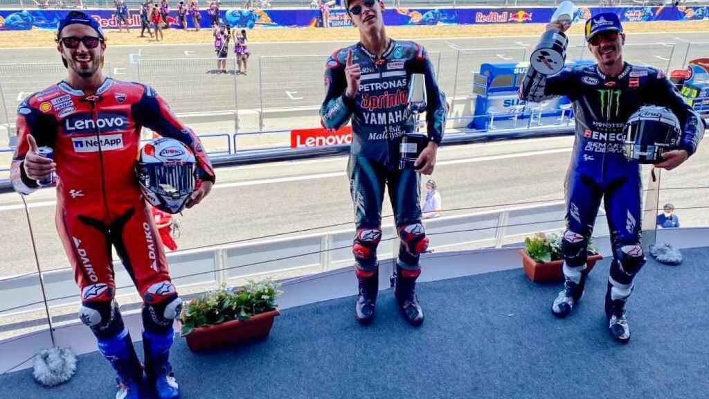 El podio del GP de Jerez con Quartararo, Viñales y Dovizioso