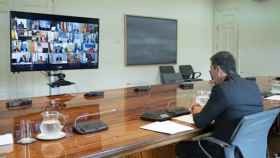 Pedro Sánchez se reúne con los presidentes autonómicos por videconferencia el pasado 31 de mayo.