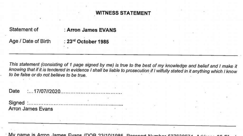 Declaración testifical de Arron James Evans, director de Fields Associates Ltd, empresa que trató de descifrar la tarjeta de Dina Bousselham.