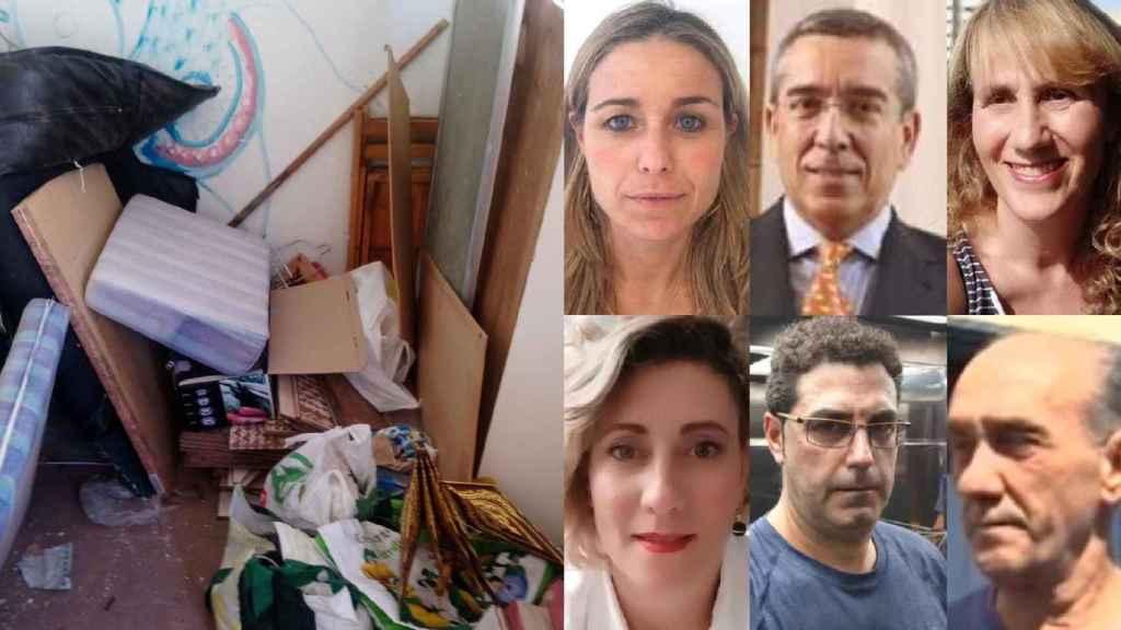 A la izquierda, el estado de una vivienda en Barcelona, tras ser okupada. A la derecha,  Teresa, Luis, Gemma, Lidia, Óscar y Juan, víctimas de la okupación.