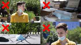 Las cuatro cosas que no debe hacer con su mascarilla.