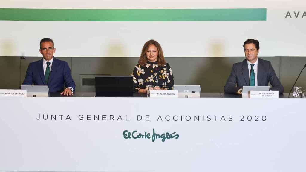 Víctor del Pozo, consejero delegado de El Corte Inglés, Marta Álvarez, presidenta y José Ramón de Hoces, consejero secretario