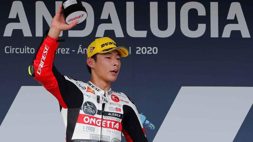 Tatsuki Suzuki celebra su victoria en el Gran Premio de Andalucía de Moto3