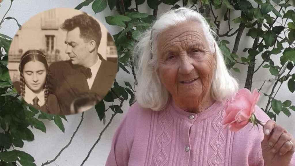 Pilar Chaves, en su casa de Marbella; a la izquierda, de niña con su padre.