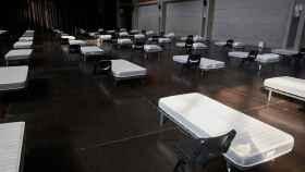 Vista de la sala multiusos del Auditorio de Zaragoza acondicionada para acoger pacientes asintomáticos