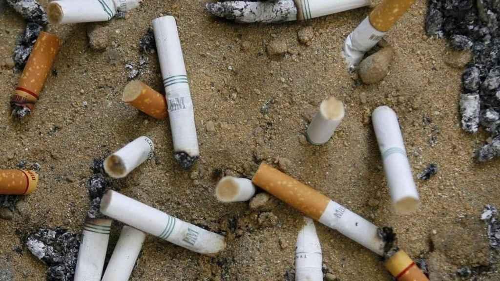 Imagen de varias colillas de cigarrillo en el suelo.