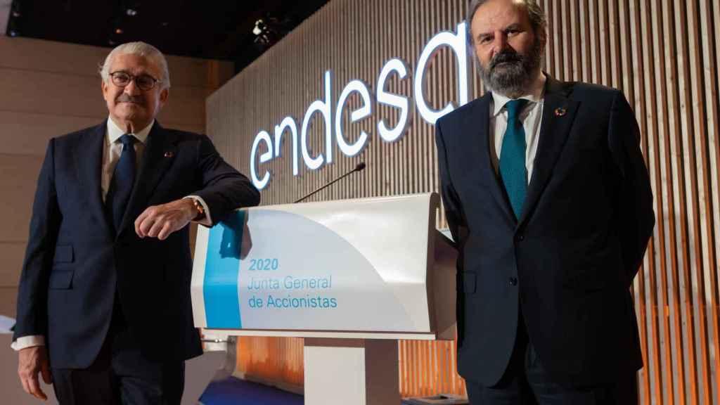 El consejero delegado de Endesa, José Bogas, y su presidente, Juan Sánchez Calero, en la junta de 2020.