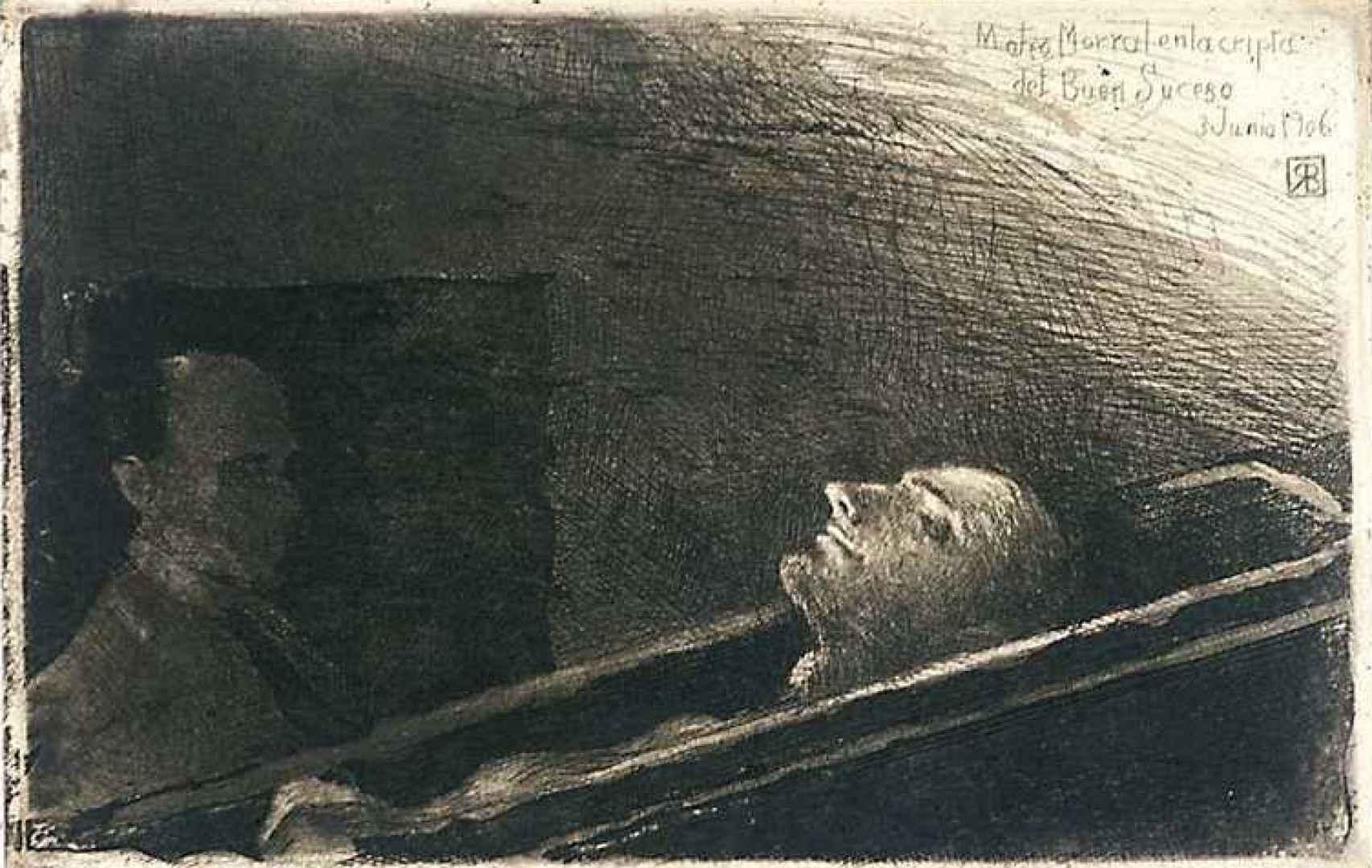 Aguafuerte del cadáver de Mateo Morral realizado por Ricardo Baroja.