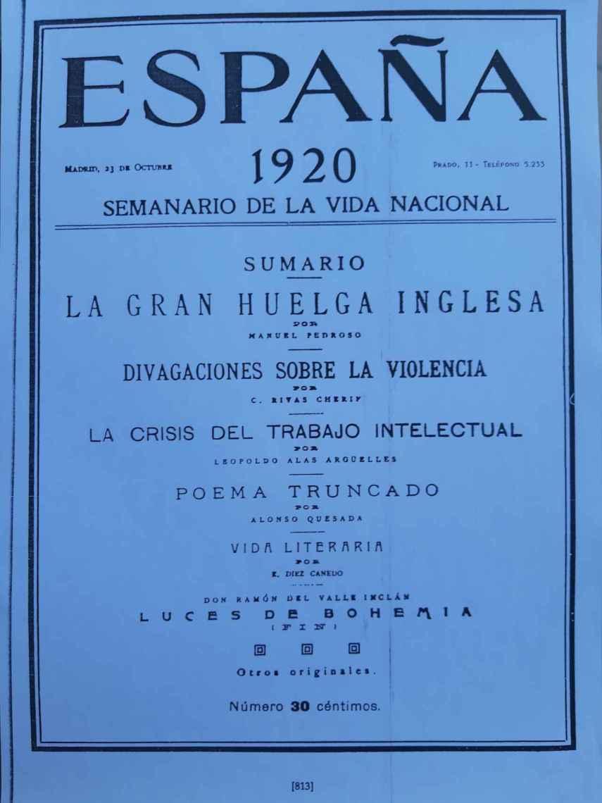 Portada de 'España' con la última entrega de 'Luces de bohemia'.