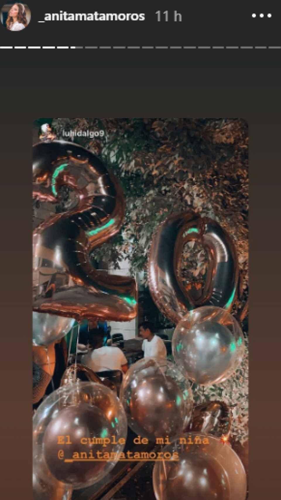 Anita Matamoros ha compartido en sus 'stories' de Instagram, algunas imágenes de su celebración.