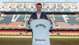 Javi Gracia, en su presentación como nuevo entrenador del Valencia