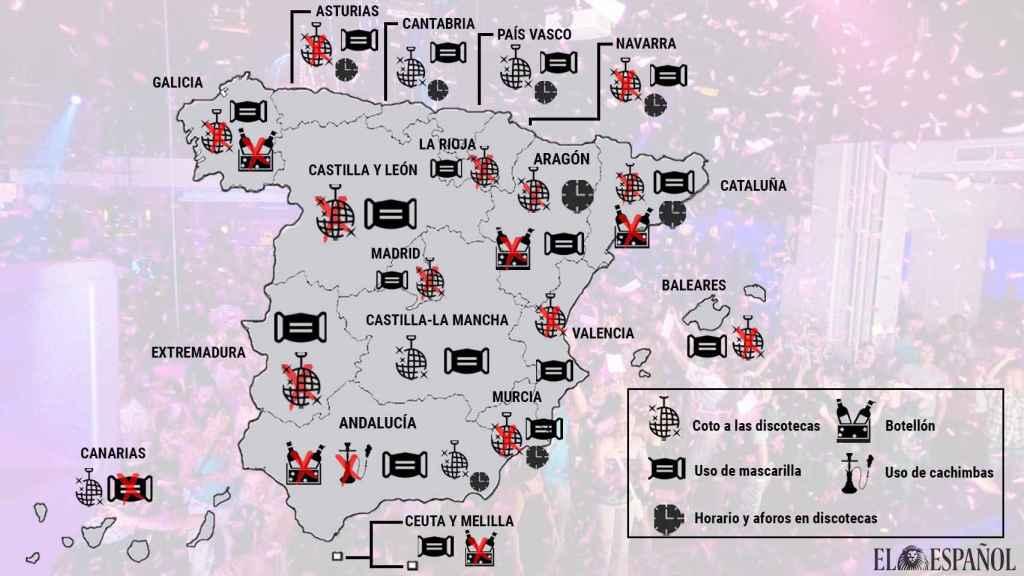 Mapa del ocio nocturno por comunidades autónomas