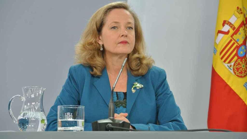 Nadia Calviño, vicepresidenta tercera y ministra de Economía, en rueda de prensa.