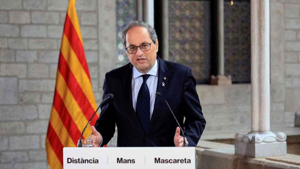 El presidente de la Generalitat, Quim Torra, este martes durante su declaración institucional.