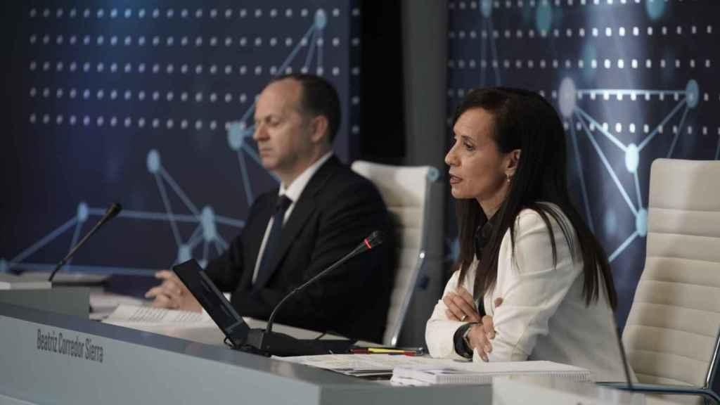 La presidenta de Red Eléctrica de España, Beatriz Corredor, en la junta general de 2020.