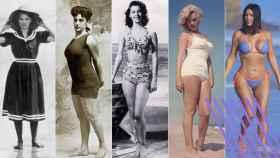 Por orden: una mujer en traje de baño, Annette Kellerman, Ava Gardner, Marilyn Monroe y Kim Kardashian.