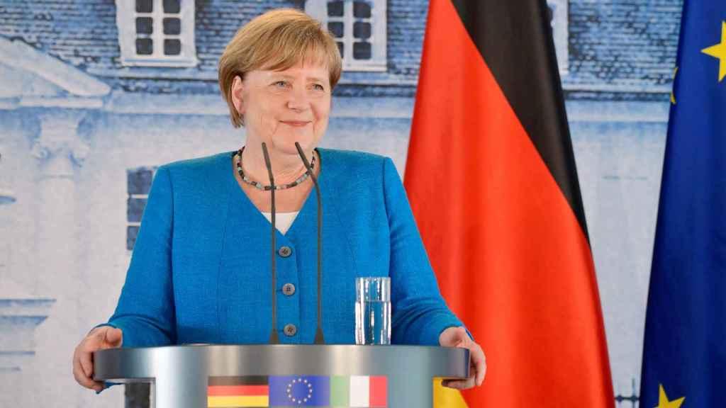 Angela Merkel en una rueda de prensa tras una reunión con el italiano, Giuseppe Conte.