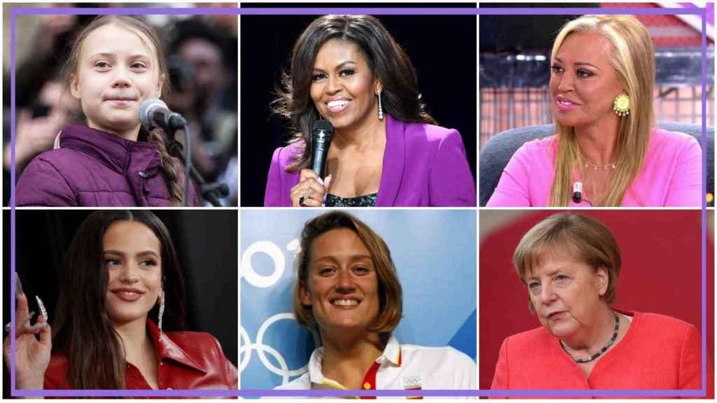 Por orden: Greta Thunberg, Michelle Obama, Belén Esteban, Rosalía, Mireia Belmonte y Angela Merkel.