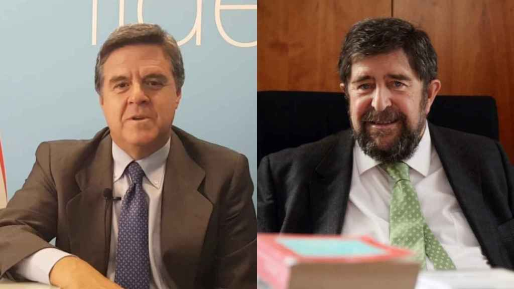 El abogado del rey Juan Carlos, Javier Sánchez Junco, a la izquierda, y el fiscal Juan Ignacio Campos, a la derecha.