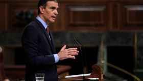 Pedro Sánchez, desde el atril, en el Congreso de los Diputados.