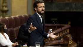 El presidente del PP, Pablo Casado, interviene este miércoles en la última sesión del Congreso.