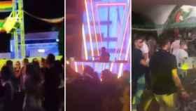 Capturas de la polémica fiesta en una discoteca de Lorca (Murcia).
