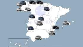 Mapa de las provincias donde hay furgonetas camufladas de la DGT.