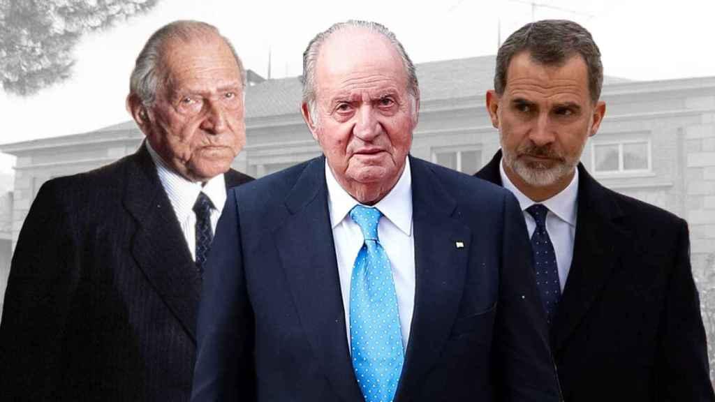 De izquierda a derecha, el conde de Barcelona, Juan de Borbón; el rey emérito, Juan Carlos, y el rey Felipe VI.